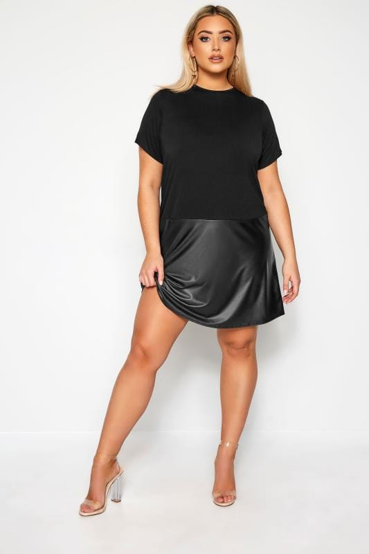 Plus-Größen Casual Dresses LIMITED COLLECTION Black PU Hem T-Shirt Dress