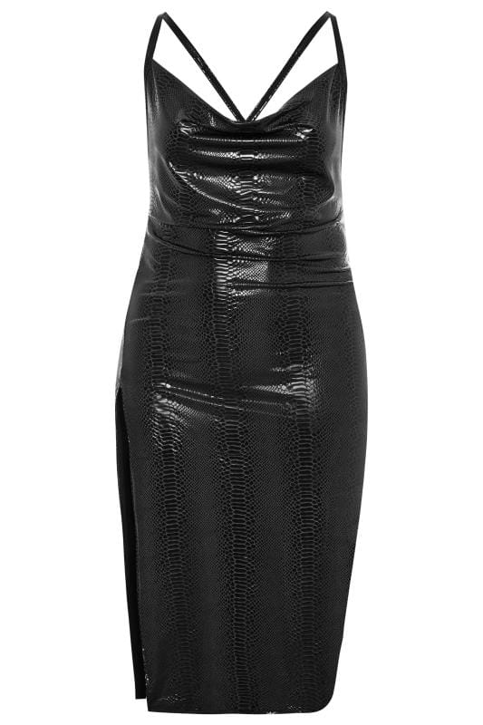 LIMITED COLLECTION Black PU Snake Midi Dress