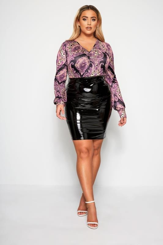 Plus Size Pencil Skirts LIMITED COLLECTION Black PVC Skirt