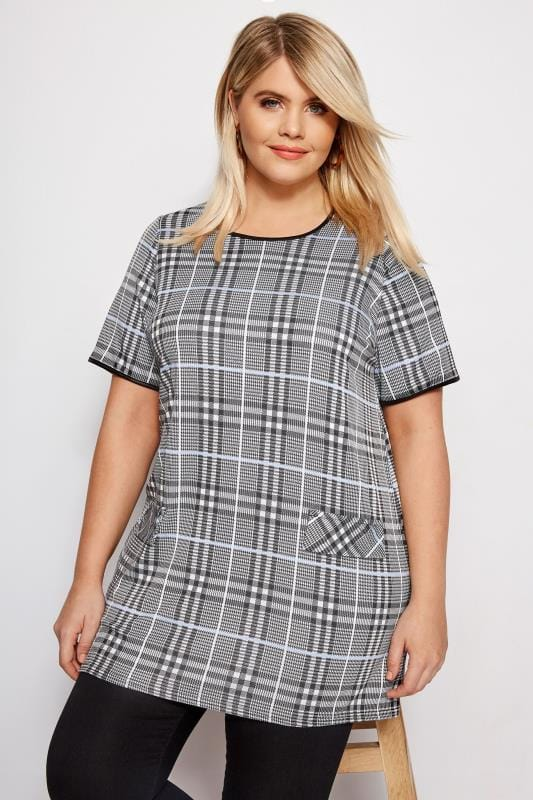 LIMITED COLLECTION Black & Pale Blue Check Tunic