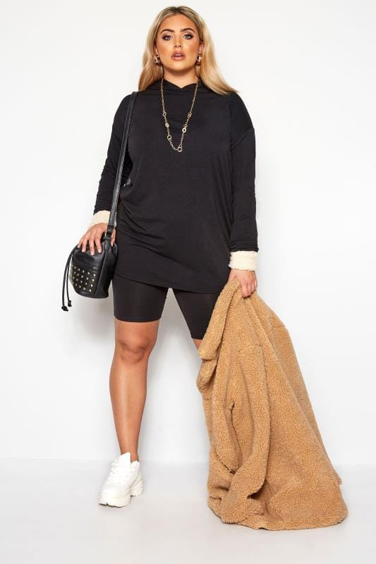 Plus Size Sweatshirts & Hoodies LIMITED COLLECTION Black Panelled Cuff Longline Hoodie