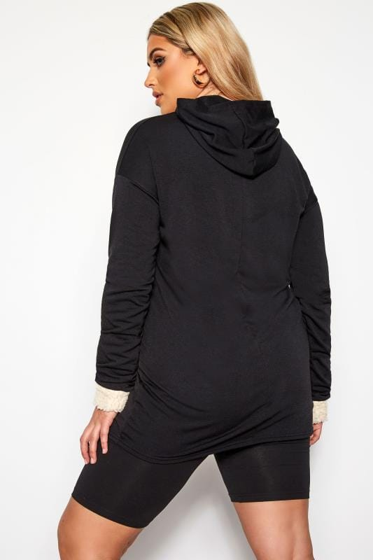 LIMITED COLLECTION Black Panelled Cuff Longline Hoodie