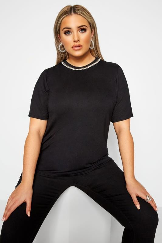 LIMITED COLLECTION Black Pearl Trim T-Shirt