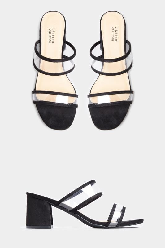 Wide Fit Sandals LIMITED COLLECTION Black Perspex Heeled Mules In Extra Wide Fit