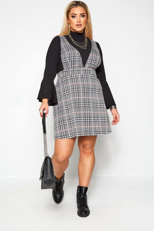 Plus Size Pinafore Dresses LIMITED COLLECTION Black & Pink Check Pinafore Dress