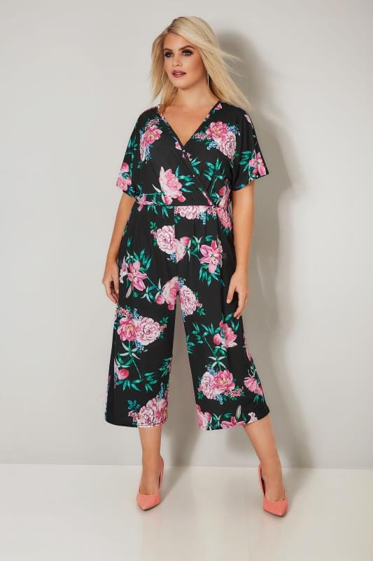 novel style detailed pictures factory authentic LIMITED COLLECTION Black & Pink Floral Jumpsuit, plus size ...