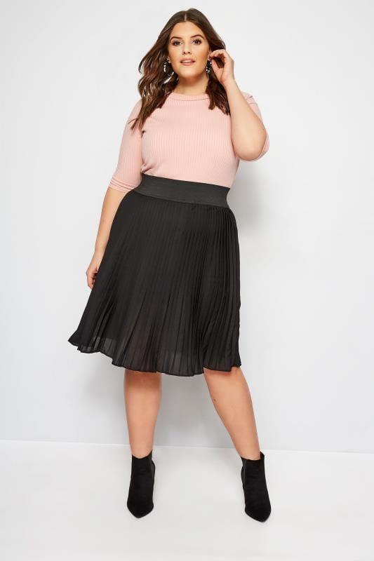 Plus Size Midi Skirts Black Pleated Skirt
