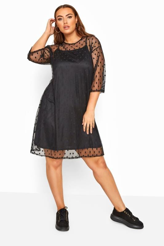 LIMITED COLLECTION Black 2 in 1 Polka Dot Mesh Dress