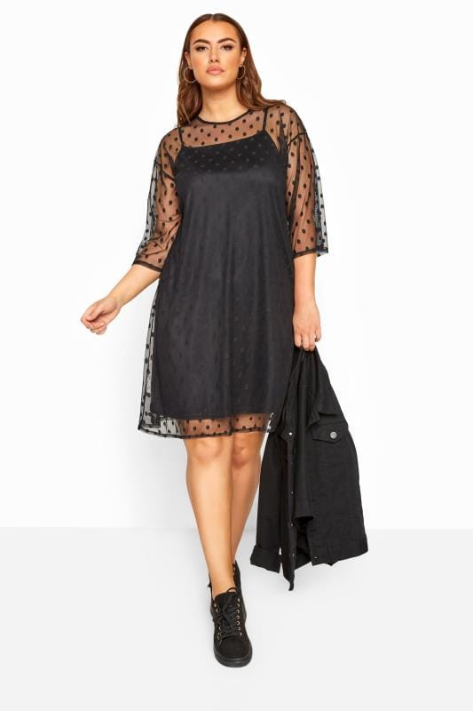 Plus Size Evening Dresses LIMITED COLLECTION Black 2 in 1 Polka Dot Mesh Dress
