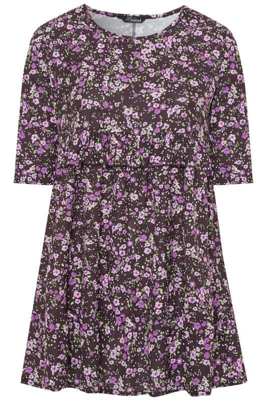 Plus Size Floral Dresses LIMITED COLLECTION Black & Purple Floral Double Layer Smock Dress