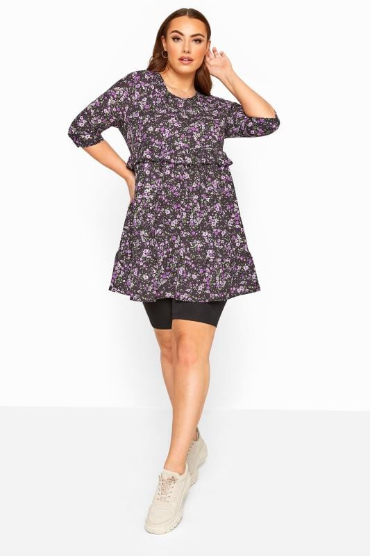 LIMITED COLLECTION Black & Purple Floral Double Layer Smock Dress