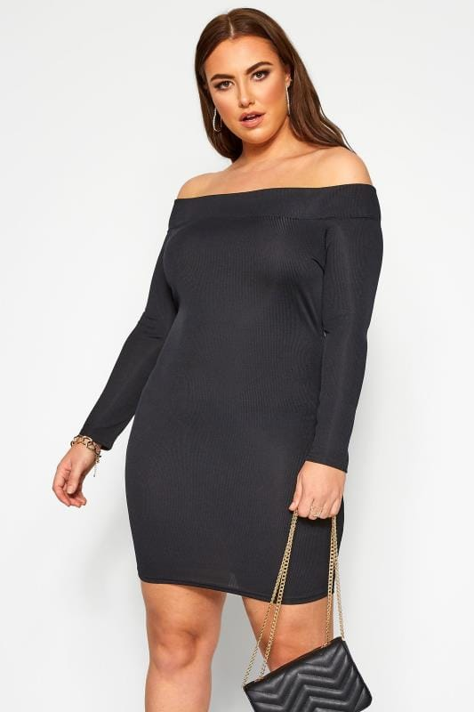 Plus Size Black Dresses LIMITED COLLECTION Black Ribbed Bardot Bodycon Dress