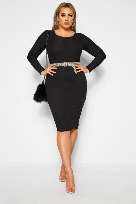 Plus Size Gifts LIMITED COLLECTION Black Ribbed Bodycon Midi Dress