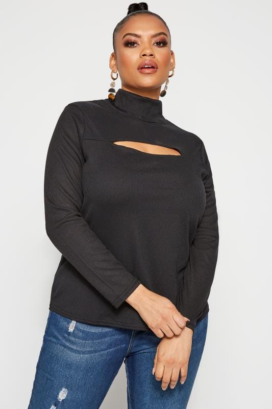 LIMITED COLLECTION Black Ribbed Cut Out Top