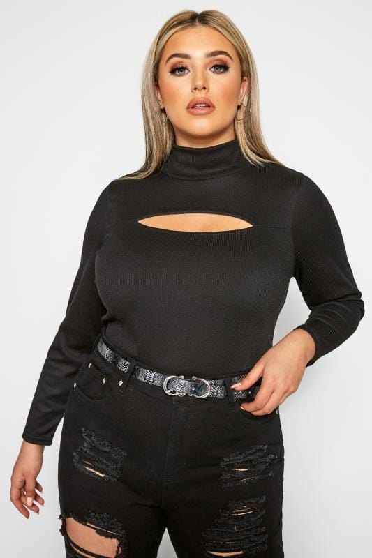 Plus Size Day Tops LIMITED COLLECTION Black Ribbed Cut Out Top