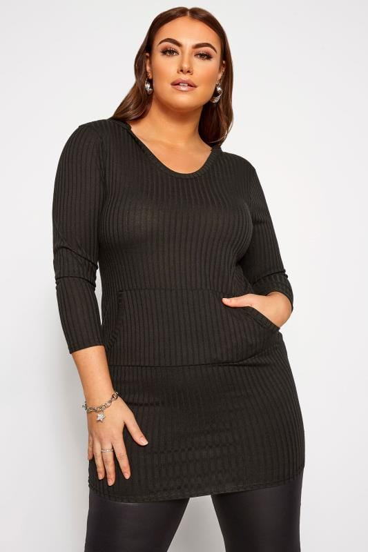 Plus Size Casual Dresses LIMITED COLLECTION Black Ribbed Hoodie Dress