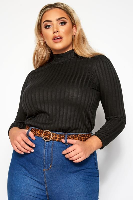 Plus Size Day Tops LIMITED COLLECTION Black Ribbed Turtleneck Top