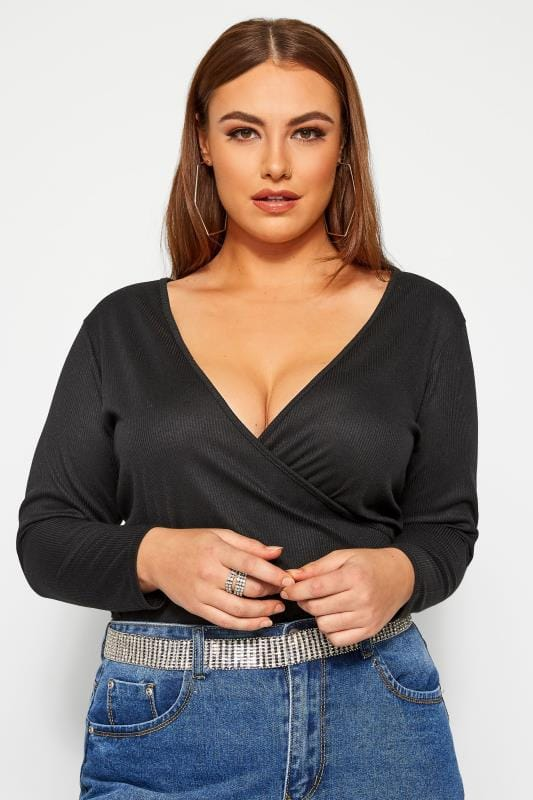 Plus Size Wrap Tops LIMITED COLLECTION Black Ribbed Wrap Top