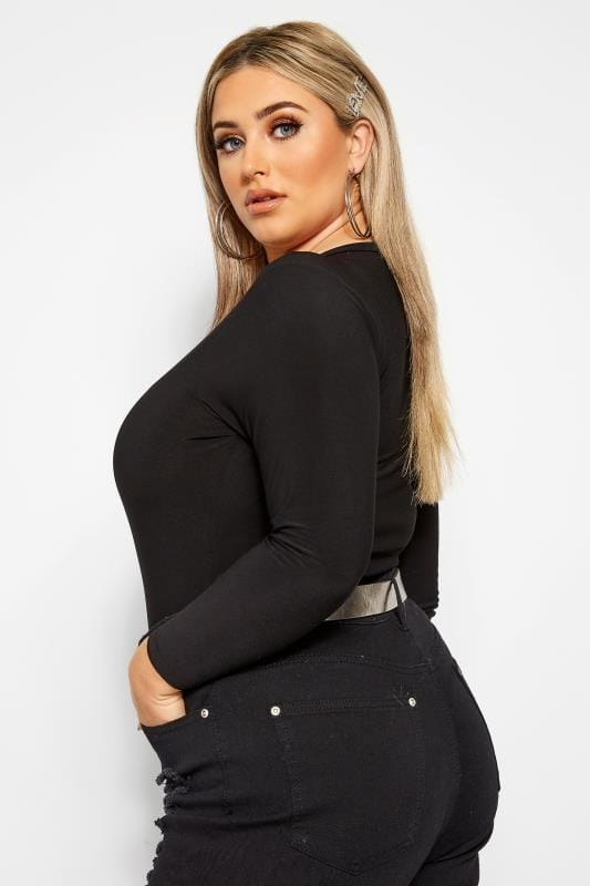 LIMITED COLLECTION Black Ring Detail Plunge Bodysuit