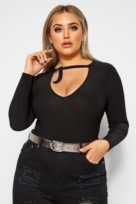 Plus Size Plunge Tops LIMITED COLLECTION Black Ring Detail Plunge Bodysuit