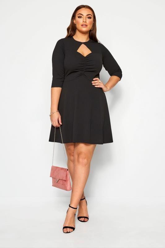 Plus Size Black Dresses LIMITED COLLECTION Black Ruched Tea Dress