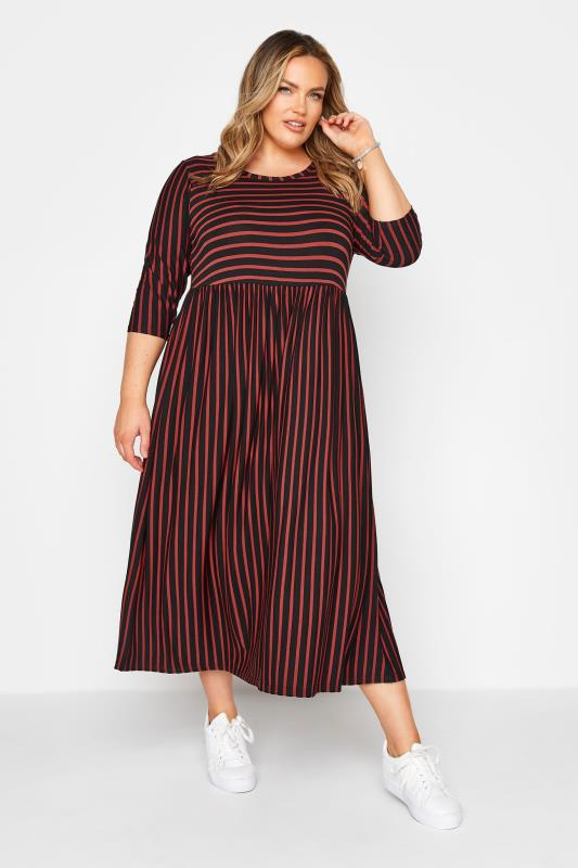 LIMITED COLLECTION Black & Rust Stripe Midaxi Dress_5fc4.jpg