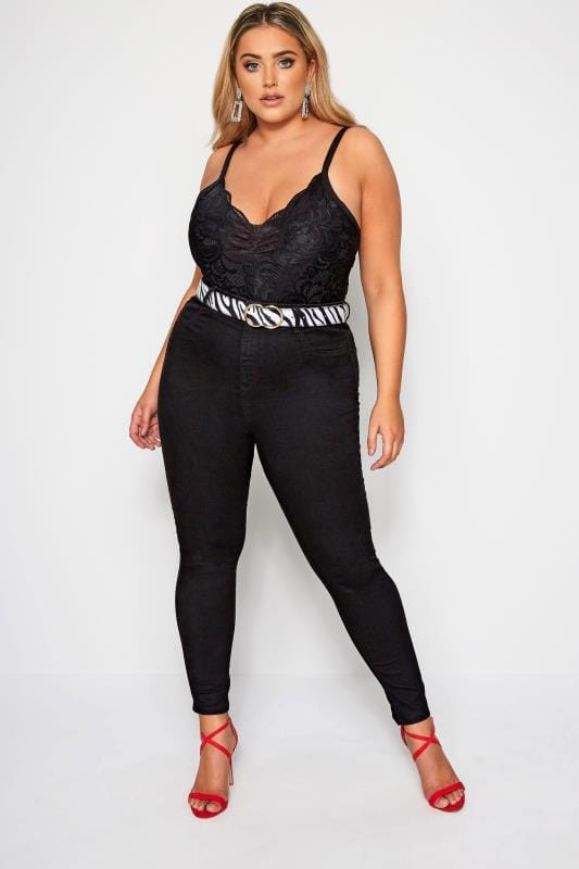 Plus Size Lace Tops LIMITED COLLECTION Black Scalloped Lace Bodysuit