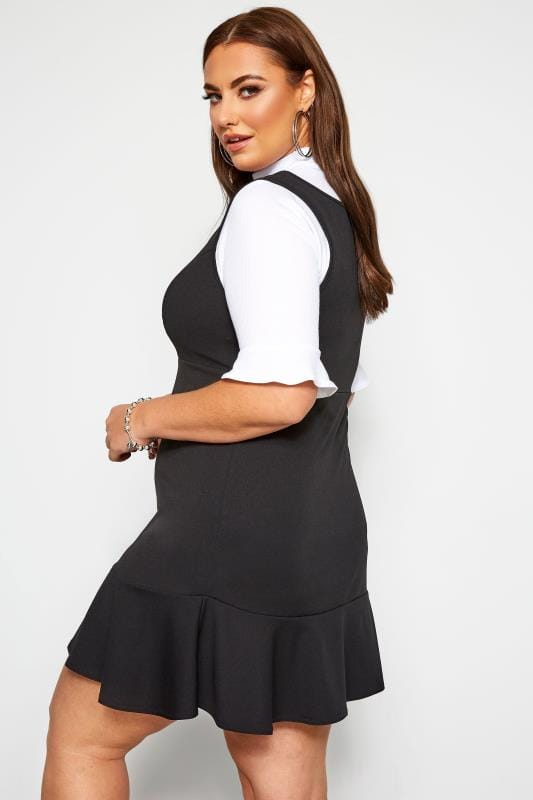 LIMITED COLLECTION Black Scuba Pinafore Dress