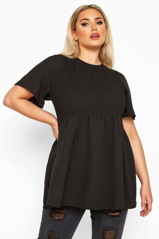 Plus Size Blouses & Shirts LIMITED COLLECTION Black Shirred Smock Top