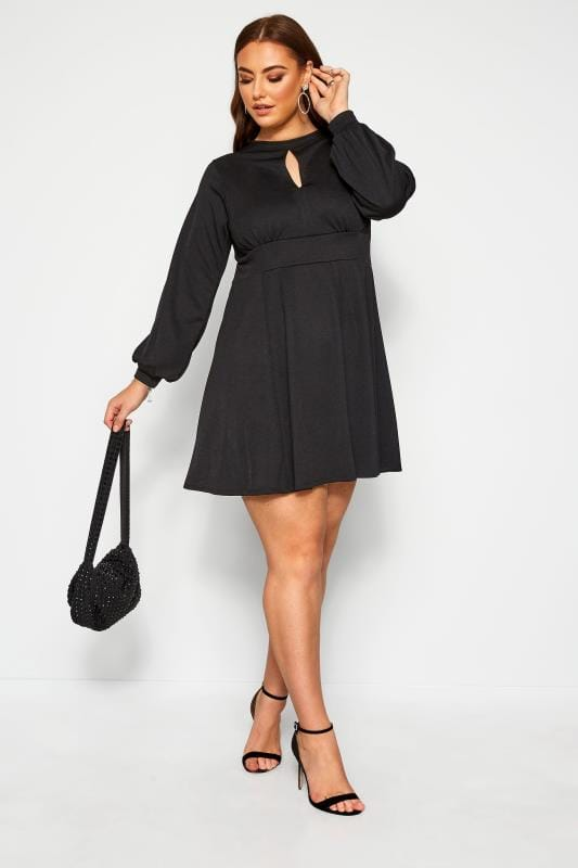 Plus Size Black Dresses LIMITED COLLECTION Black Skater Dress