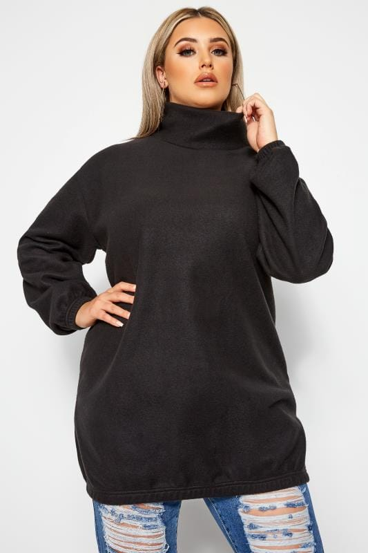 Plus Size Jumpers LIMITED COLLECTION Black Fleece Longline Jumper