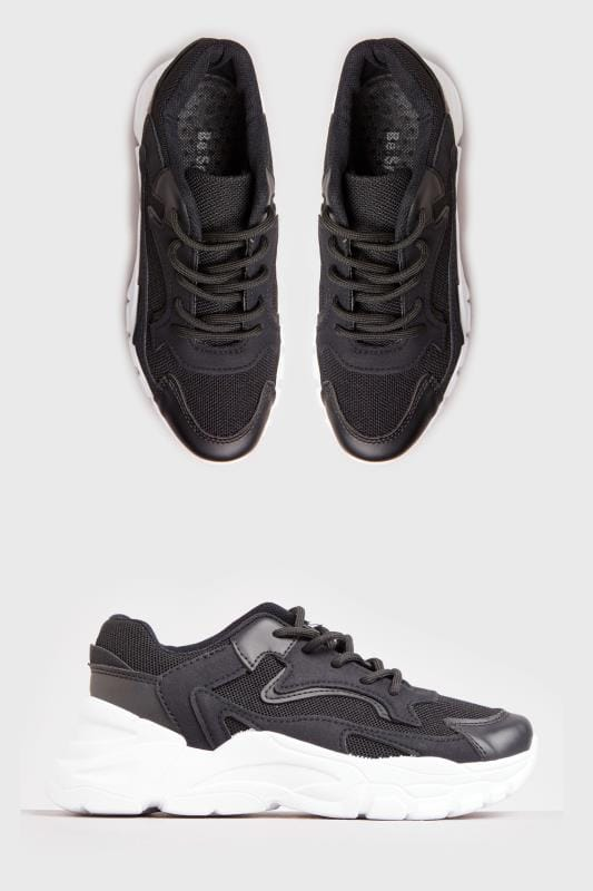 Plus Size Shoes LIMITED COLLECTION Black Sporty Chunky Trainers In Standard Fit