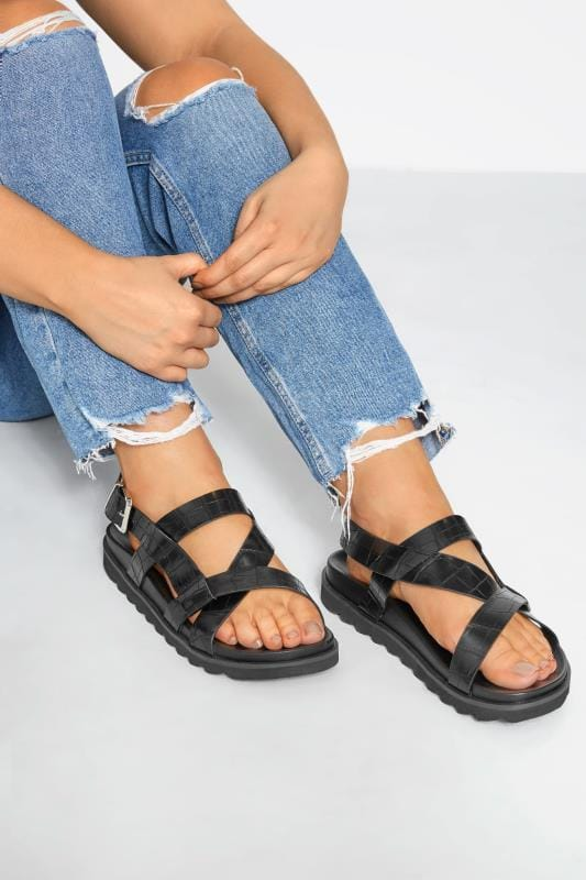 LIMITED COLLECTION Black Sporty Footbed Sandals In Extra Wide Fit