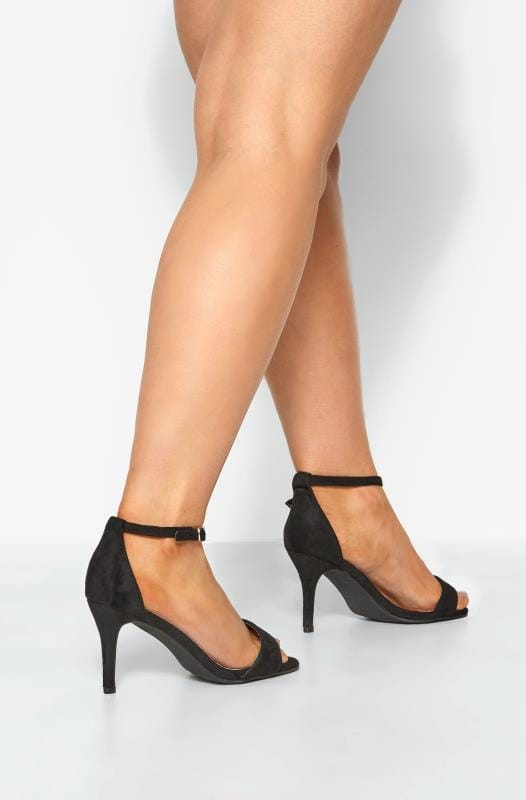 Wide Fit Heels LIMITED COLLECTION Black Strappy Heels In Extra Wide Fit