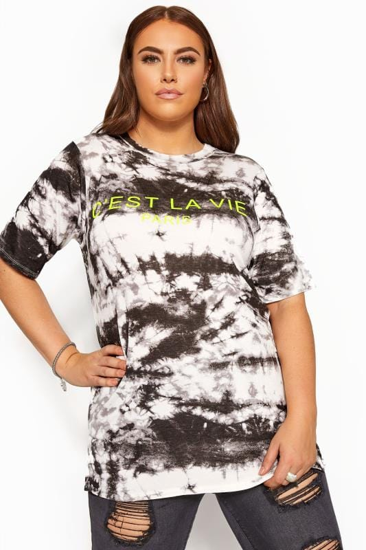 LIMITED COLLECTION Black Tie Dye Slogan T-Shirt