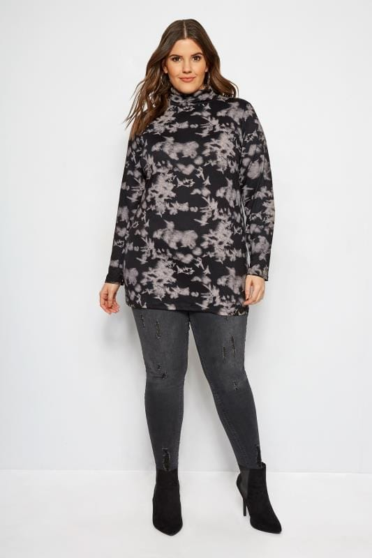 LIMITED COLLECTION Rollkragenpullover mit Batik-Print - Schwarz