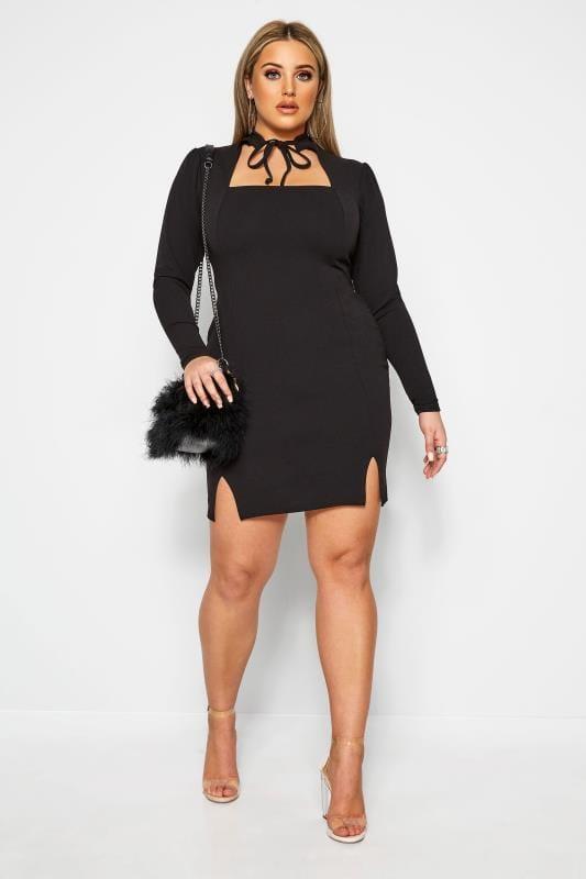 Plus Size Black Dresses LIMITED COLLECTION Black Tie Neck Bodycon Dress