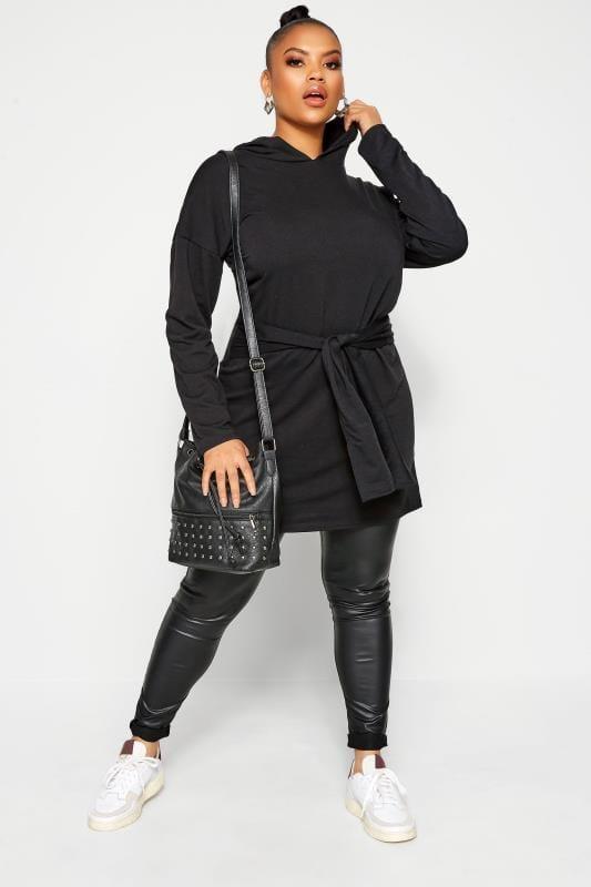 LIMITED COLLECTION Black Tie Waist Hoodie Dress