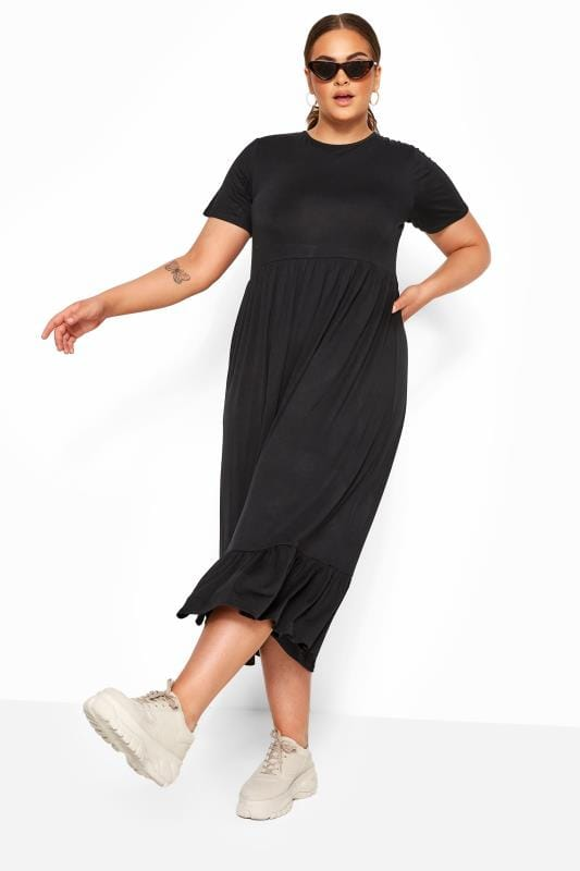 LIMITED COLLECTION Black Tiered Maxi Smock Dress