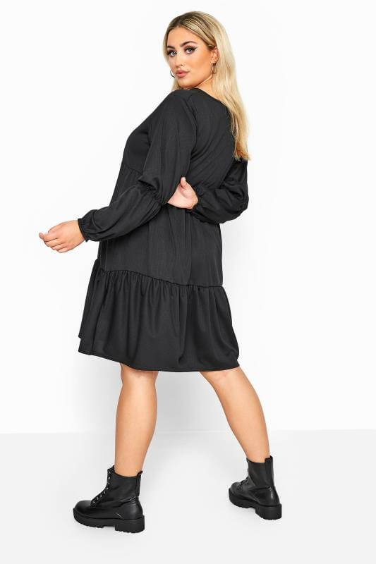 LIMITED COLLECTION Black Tiered Smock Long Sleeve Dress
