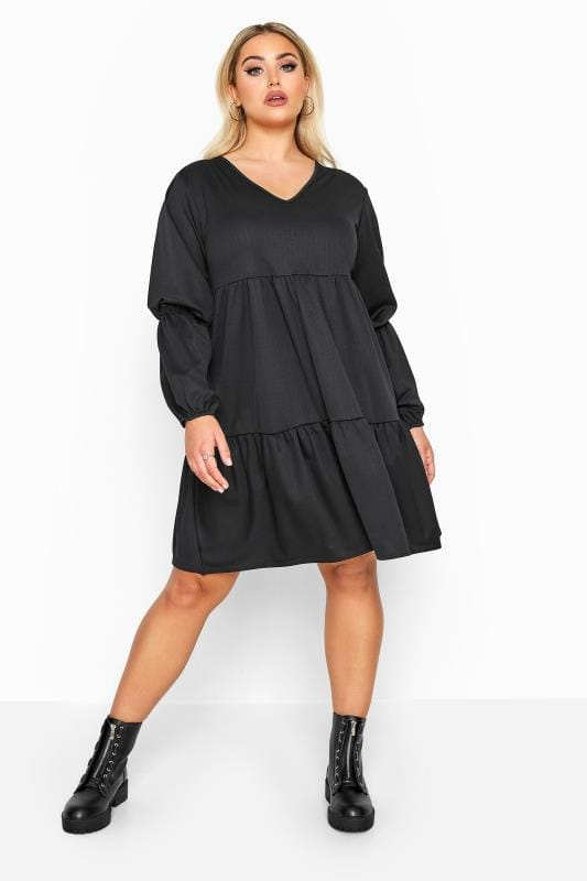 Plus Size Black Dresses LIMITED COLLECTION Black Tiered Smock Long Sleeve Dress