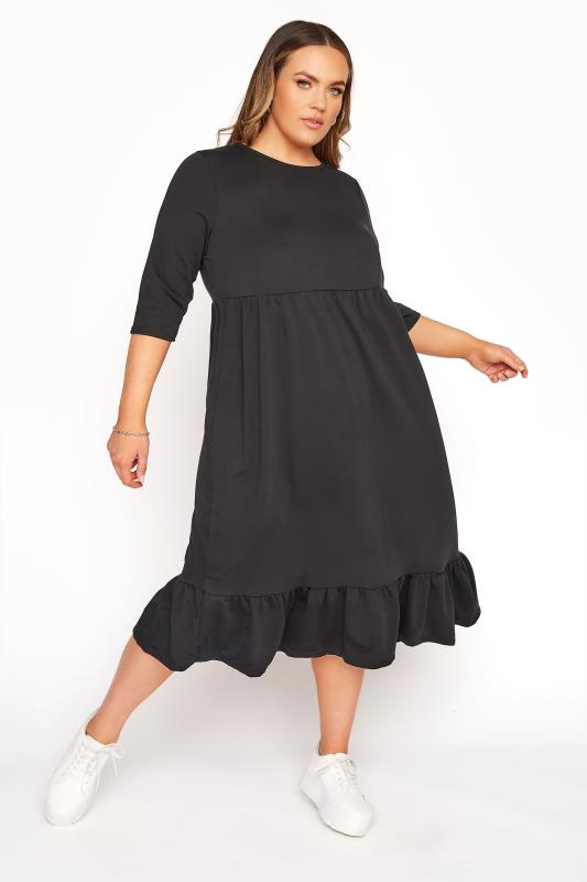 Plus Size  LIMITED COLLECTION Black Tiered Smock Sweatshirt Midi Dress