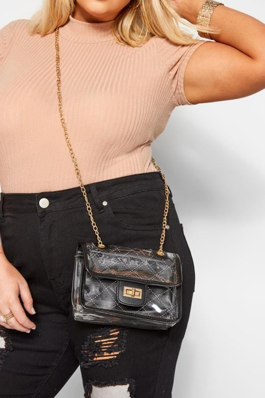 Cross Body Bags LIMITED COLLECTION Black Trim Clear PU Bag