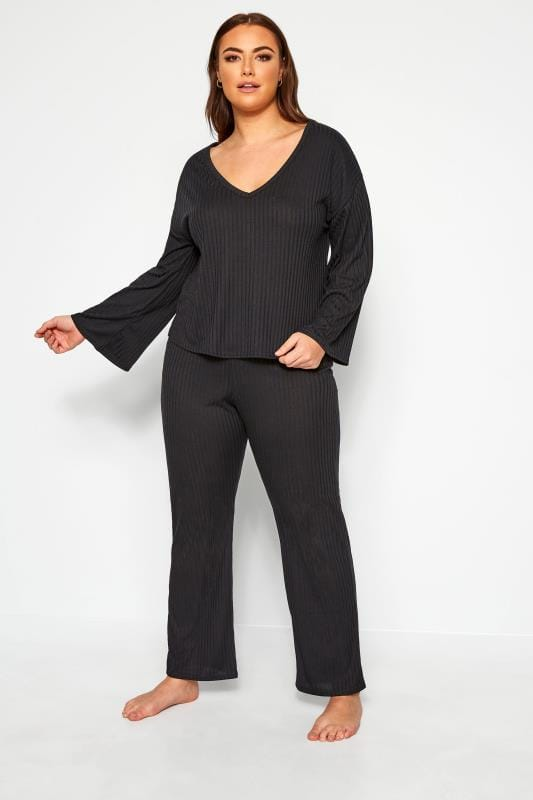 Plus Size Loungewear LIMITED COLLECTION Black Trouser & T-Shirt Lounge Set