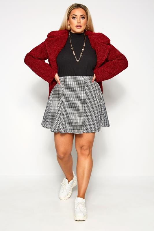Plus Size Skater Skirts LIMITED COLLECTION Black & White Check Skater Skirt