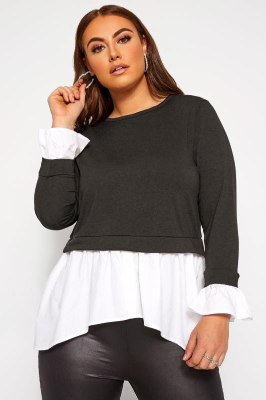 Plus Size Sweatshirts LIMITED COLLECTION Black & White Double Layer Sweatshirt