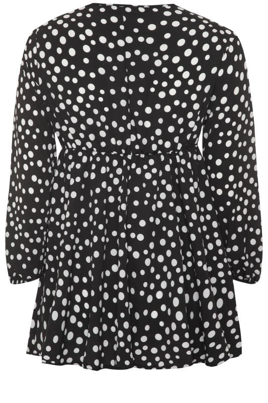 LIMITED COLLECTION Black & White Polka Dot Knot Front Dress
