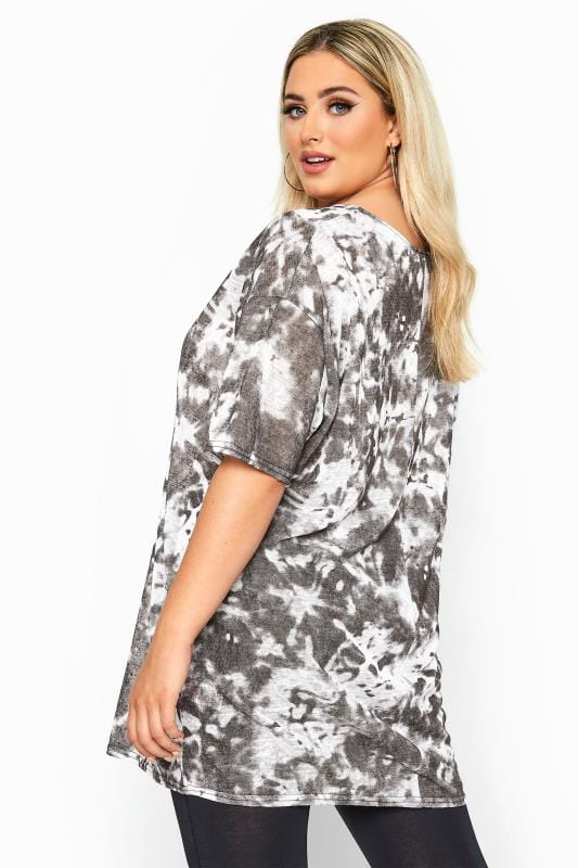 LIMITED COLLECTION Black & White Tie Dye Oversized T-Shirt
