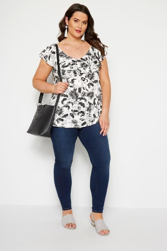 Black & White Tropical Cross Back Top