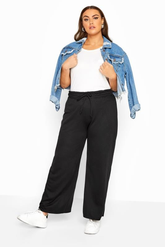 Plus Size Joggers LIMITED COLLECTION Black Wide Leg Joggers